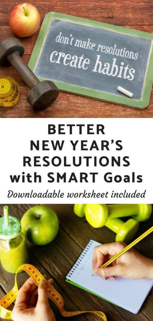 Use SMART Goals to help you plan (and achieve!) this year's New Year's Resolutions. Downloadable worksheet included.