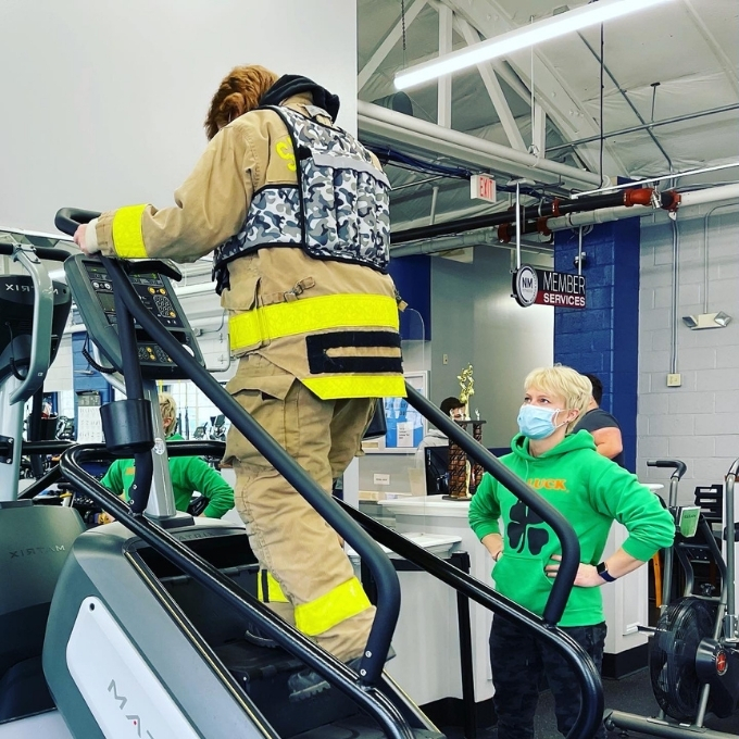 A Personal Trainer can help you train for an event or reach specific goals. In this case, the person being trained was getting ready for a firefighter test.